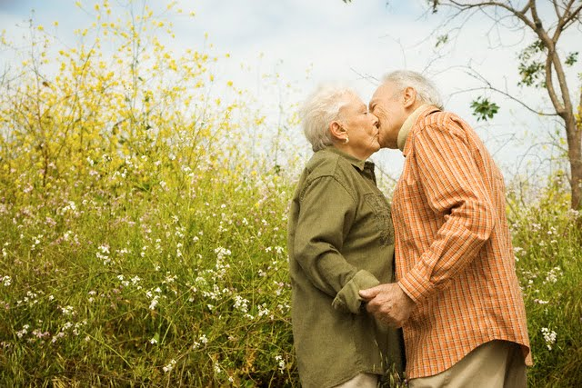 Elderly Couple Kissing in Meadow --- Image by © Hill Street Studios/Corbis